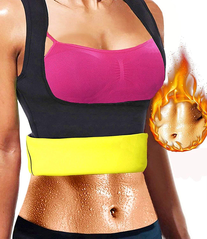 ef17466620a Get Quotations · gofanmu Women Sweat Neoprene Waist Trainer Cincher  Slimming Sauna Vest Shaper Tank Top for Weight Loss