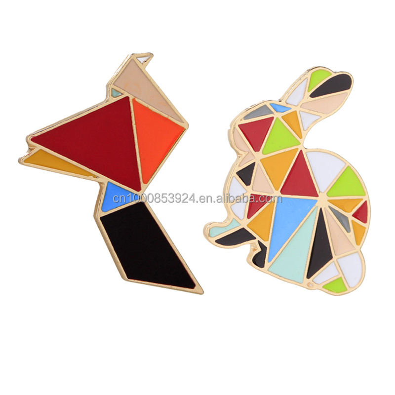 enamel pins lapel pins badges Origami Bird Rabbit Metal Crafts