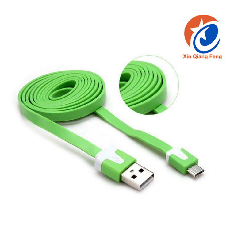 High speed colorful v8 flat type charging micro USB cable for mobile phone