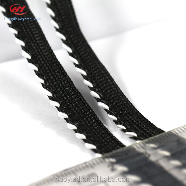 White Black Twisted Piping Polyester Ribbon for Garment