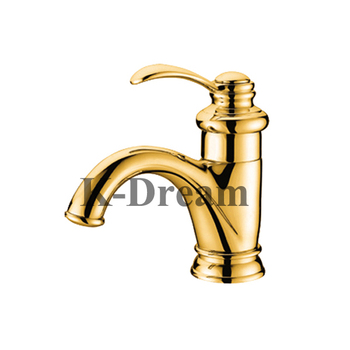 Outdoor Hot Cold Water Gold Plated Bathroom Faucet Fancy Kd 23f