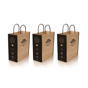Eco Friendly Recyclable Custom Color Printed Brown Restaurant Takeaway Fast Food Kraft Paper Bag With Logos