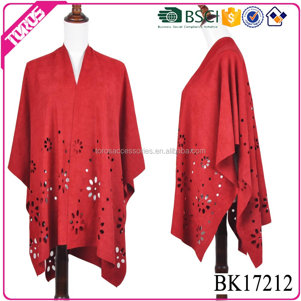 TOROS Custom made fashion suede shawls and ponchos with fringe leather scarves