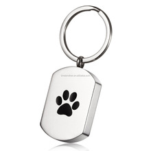 316L Stainless Steel Pet Paw Prints Memorial Cylinder Keychain Cremation Ashes Urn Key Chains