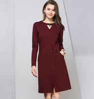 ladies long sleeve 2018 autumn winter woman wine red fashion lace formal dress