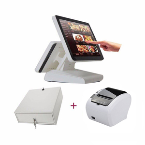 China manufacturer 15 inch Dual screen pos machine price all in one double screen epos systems