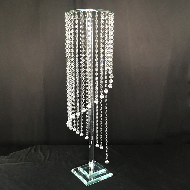 Shining crystal flower stand hanging crystal beads wedding table centerpieces