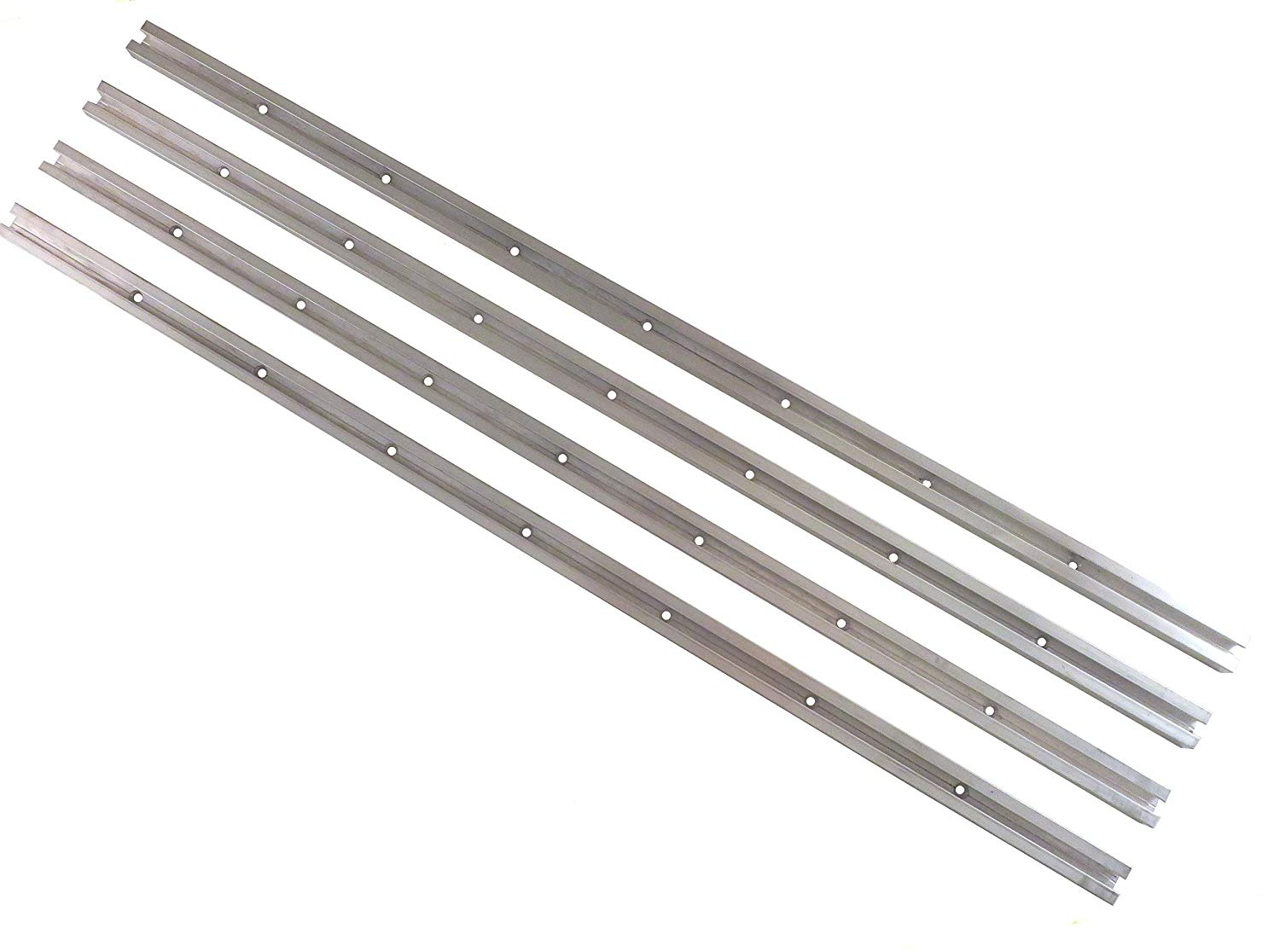 """Lot of 4 Each 24"""" Aluminum T Tracks 3/4"""" by 3/8"""" Slot Accepts Standard 1/4"""" Hex Bolt Head Predrilled Countersunk Holes Every 6"""" TT24X4"""
