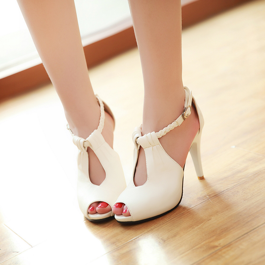 Black And Cream Peep Toe Shoes