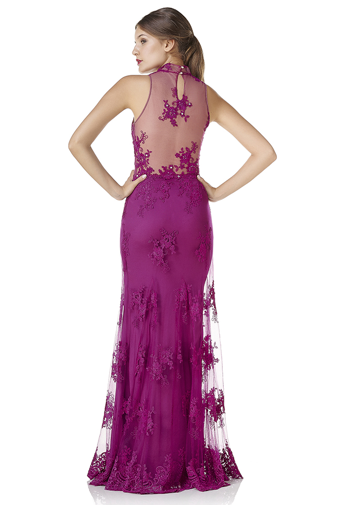 Ave-13 romántico púrpura foamal vestido de fiesta 2015 por encargo ...