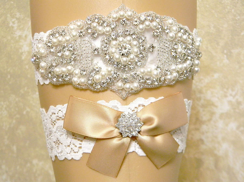 Champagne Wedding Garter Set, Bridal Garter Belt, Pearl and Crystal Rhinestone Keepsake and Toss Garter Set, Lace Garters, MORE COLORS