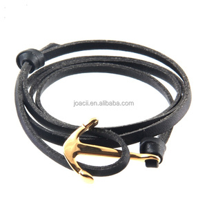 Fashion Men Anchor Bracelet on Black PU Leather Wrap Strap With Nautical Navy Wind Pirate Ship Anchor Model For Men