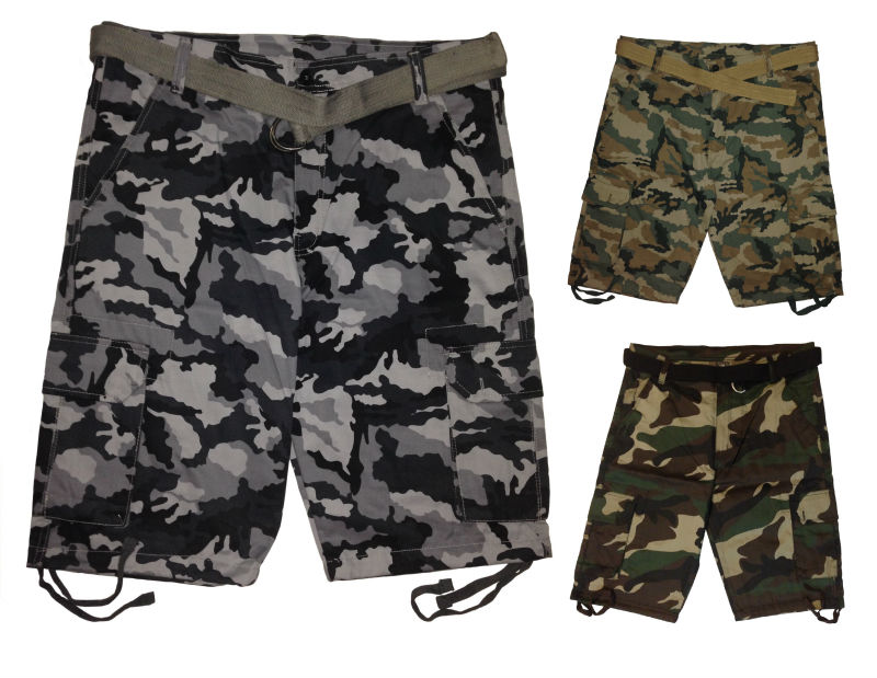 Cargo shorts Camouflage (100% cotton) size 30 to 50