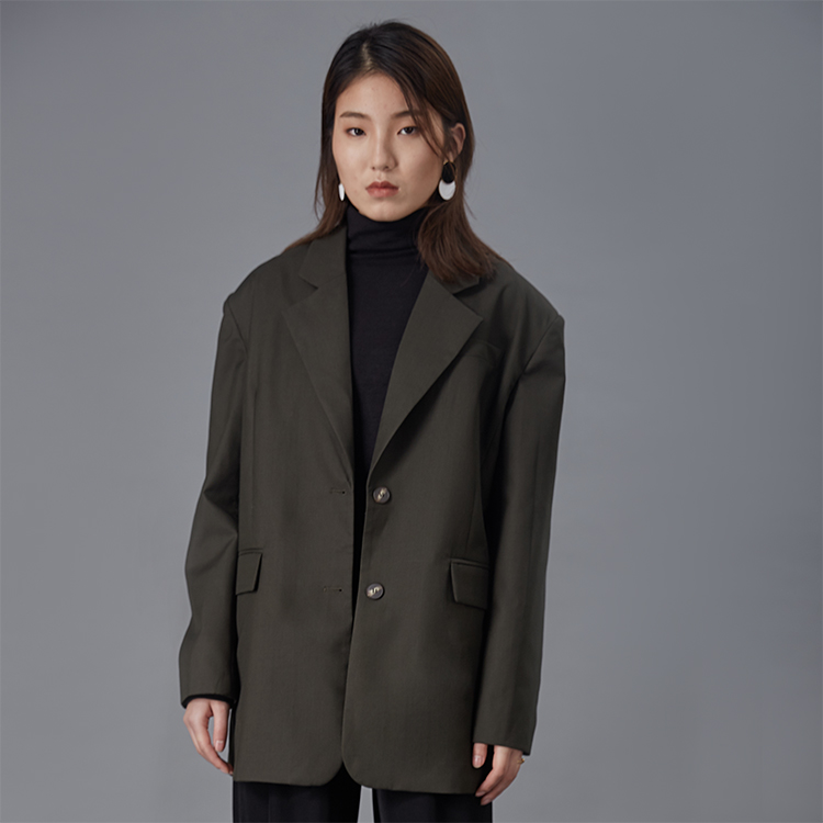 2019 spring new long-sleeved solid color small suit single-breasted coat female