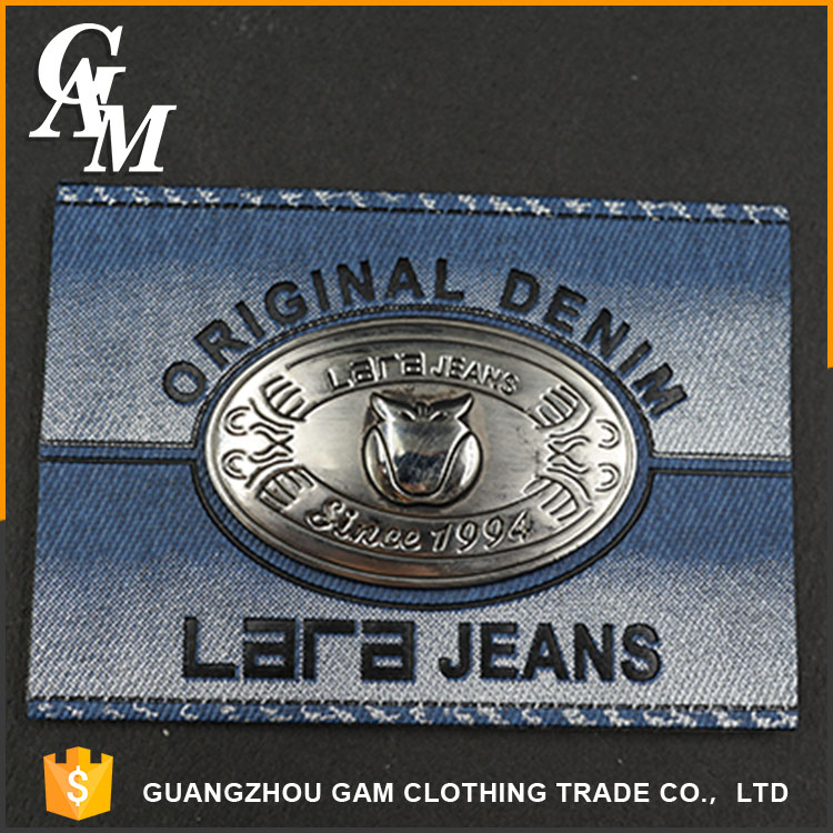 Oem hot sale brown classic design leather label branded jean patch jean tags