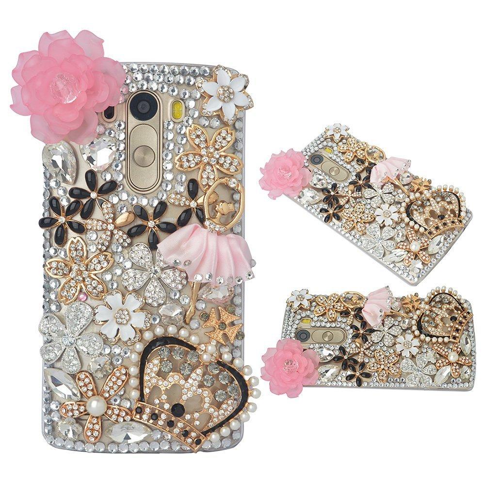 Spritech(TM) Bling Phone Case For LG V10,3D Handmade Gold Silver Crystal Flower Crown Lovely Girl Pattern Accessary Design Clear Cellphone Cover