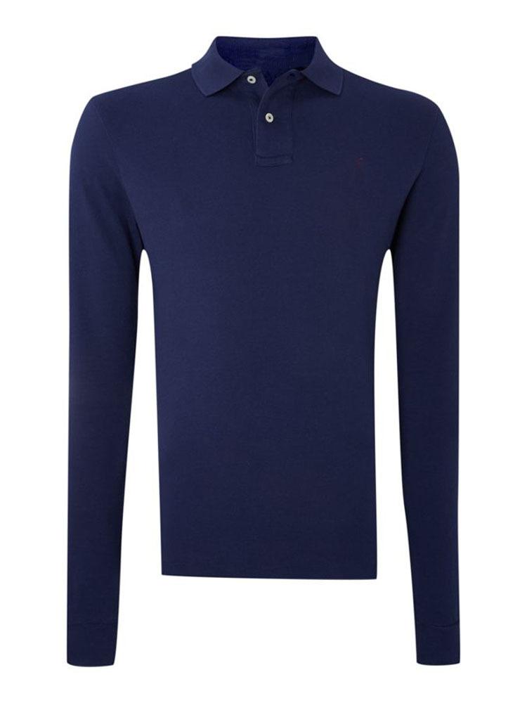 Slim Fit Long Sleeve Plain Blue Men Polo Formal T Shirt - Buy Polo ...