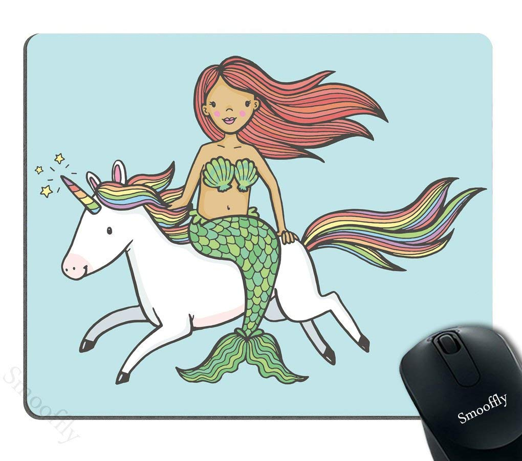 07bb78ffa13 Get Quotations · Smooffly Gaming Mouse Pad Custom,Cute Mermaid Girl Riding  a Unicorn Mouse Pad Personality Desings