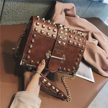 Роскошные женские сумки с заклепками, 2020, Высококачественная винтажная кожаная сумка через плечо, маленькая сумка через плечо, женская брен...(Китай)