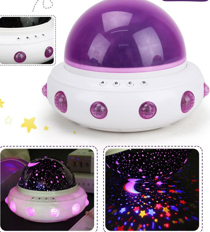 Wholesale Stock Small Order Creative UFO Shape Star Sleeping Projector Night Light