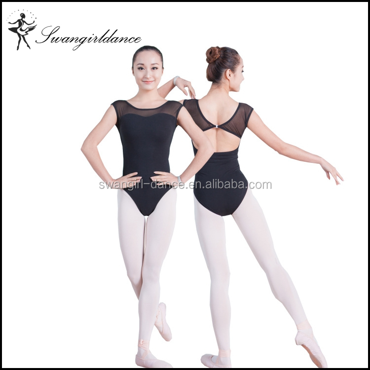 ladies boat neck mesh short sleeve dance clothes leotards gymanstics ballet costumes for sale