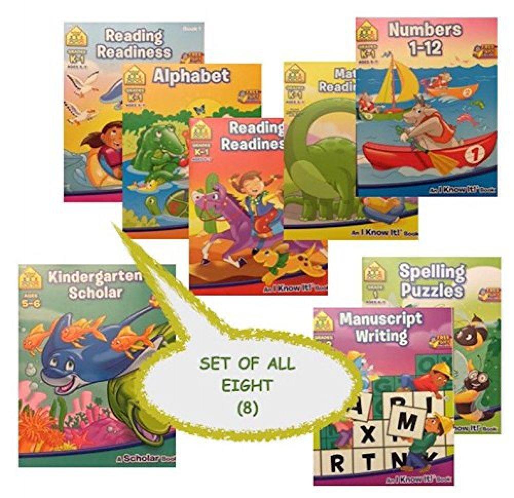 8 School Zone Workbooks bundle set (K-1st Grade Alphabet, Math, Numbers, Reading Books 1 & 2, Kindergarden Scholar Book, K-2nd Grade Manuscript Writing, 1st Grade Spelling Puzzles)