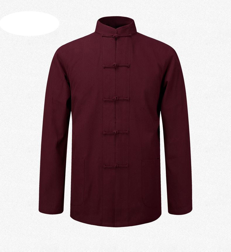 Traditional Chinese Clothing For Men Tang Cotton Tops Garment Suits Blouse Shirt Uniform