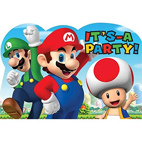 Super Mario Bros Nintendo Birthday Boy Party Invitations 16 Count Save the Date Stickers