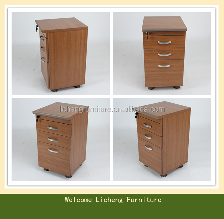 Locked Office Desk Side Cabine Three Drawers Movable Cabinet