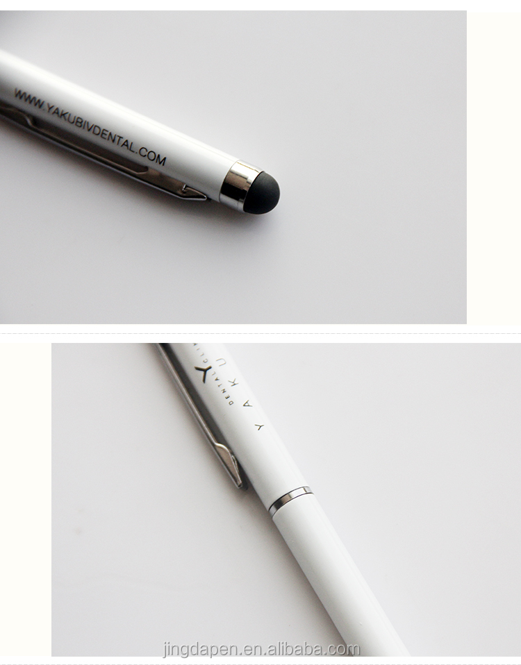 Custom Logo Super Thin slim Ballpoint Touch screen Stylus Pen