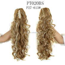 Two tone color synthetic ponytail Long curly hair weave drawstring ponytail Claw clip ponytail