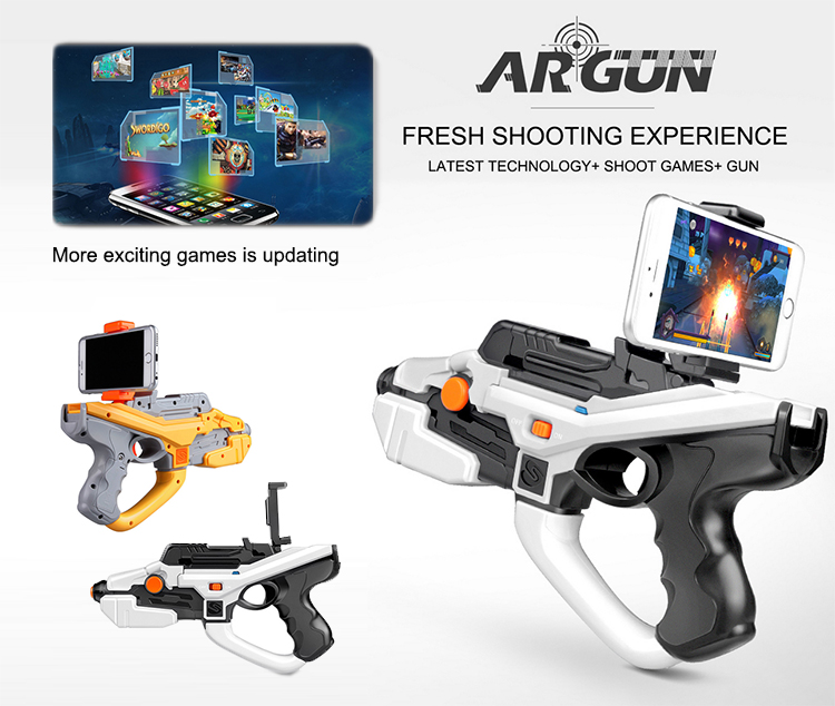 Latest bluetooth shooting open the new mode plastic smart phone gun toy of game toy