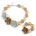 Europe Hot SaleChampagne Resin Flower GirlsWomen Chokers Necklace Pearl Chunky Beads Bracelets Sets Kids Shambhala Jewelry