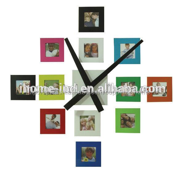 metal reloj de pared con marco de fotos-Relojes de Pared ...