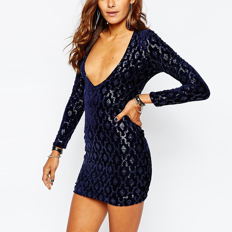 Latest Design Hot Sale Sequins Sexy Club Dress