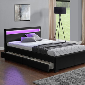 1894 1d Modern Led Light Headboard Black Synthetic Pu Leather Platform Bed