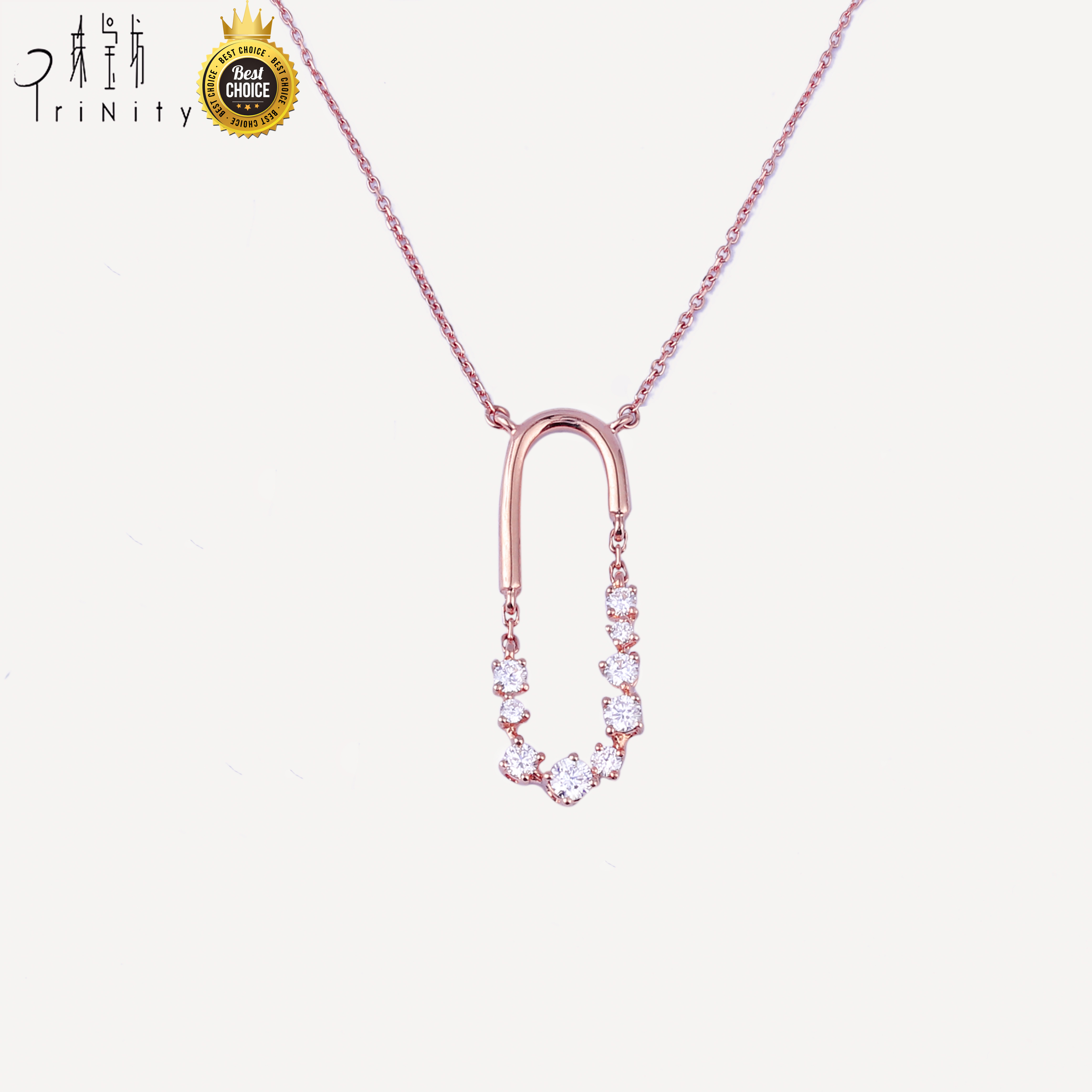 D01 Best selling products <strong>fashion</strong> rose gold custom diamond pendant chain jewelry women necklace