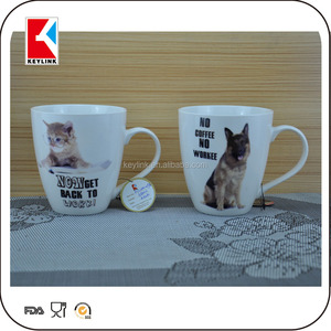 china factory novelty cat design printed tea cup personalized magnesia coffee porcelain mug