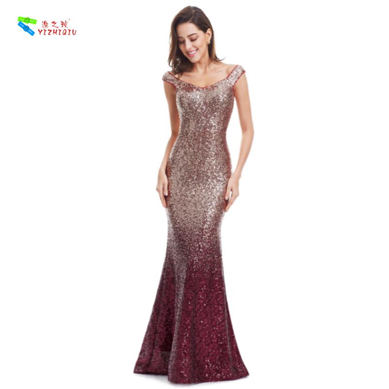 YIZHIQIU Sequin Long Sparkle Mermaid Prom Evening Dress