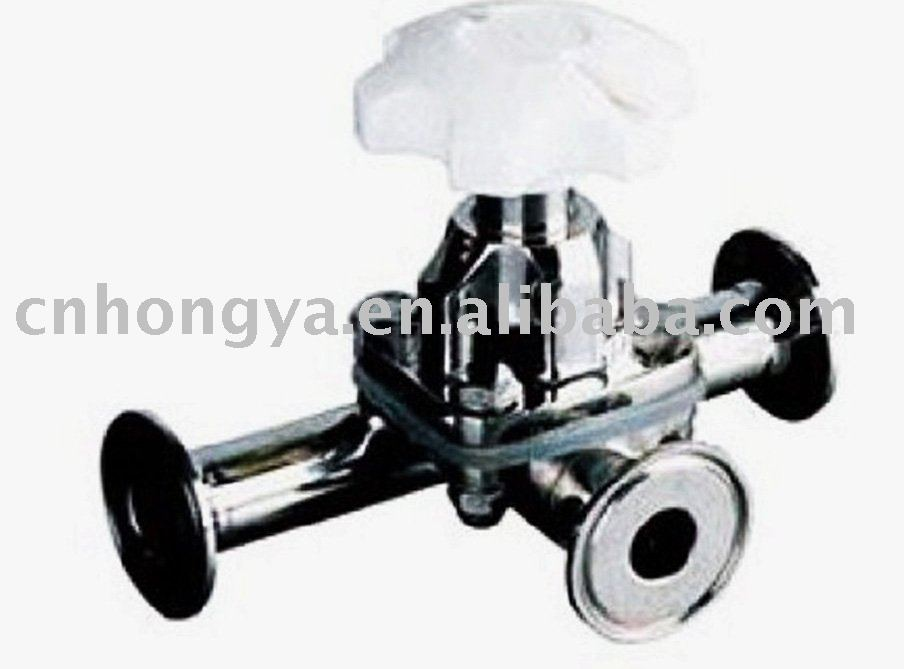 Sanitary three ways diaphragm valve