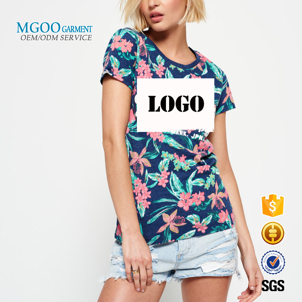 All over flower print t-shirt Fitness sublimation women t shirt cheap 35 cotton 65 polyester t shirt with custom logo design