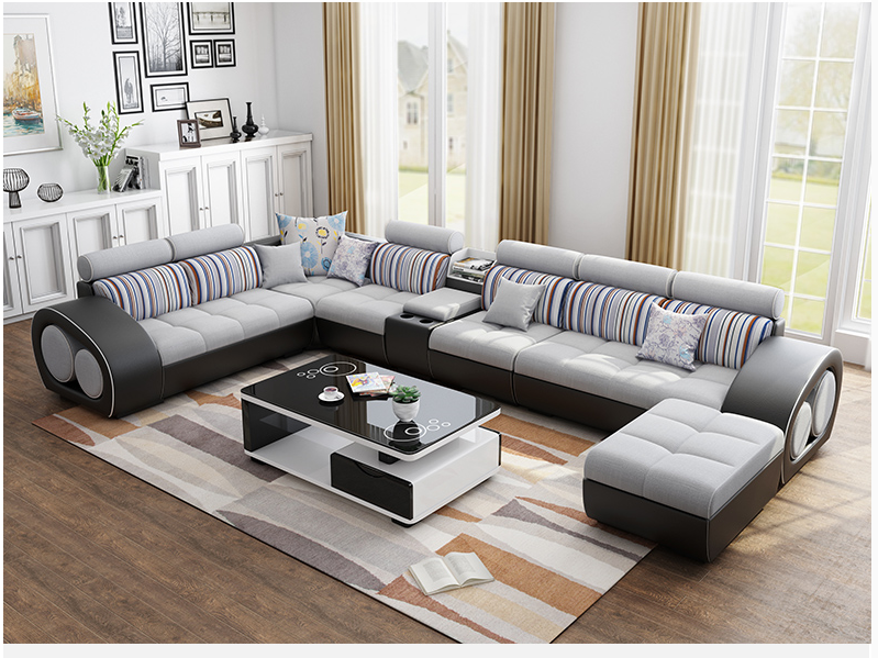 customize new design fashion leather and cloth combination furniture living  room sofa, View leather and cloth sofa, SHIQUANYOUPIN Product Details from  ...