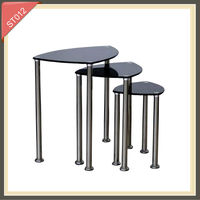 double sided table clock round with drawer aluminium stainless steel side table