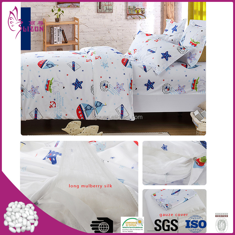 Factory wholesale handmade baby silk quilt with cotton printed
