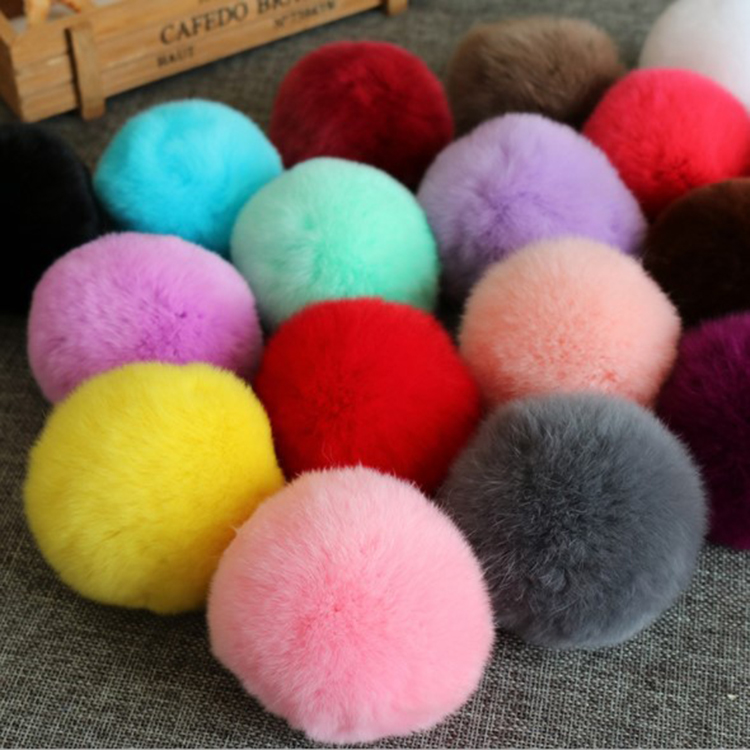 Factory wholesale hot real rex <strong>rabbit</strong> fur pompoms for fur ball keychain