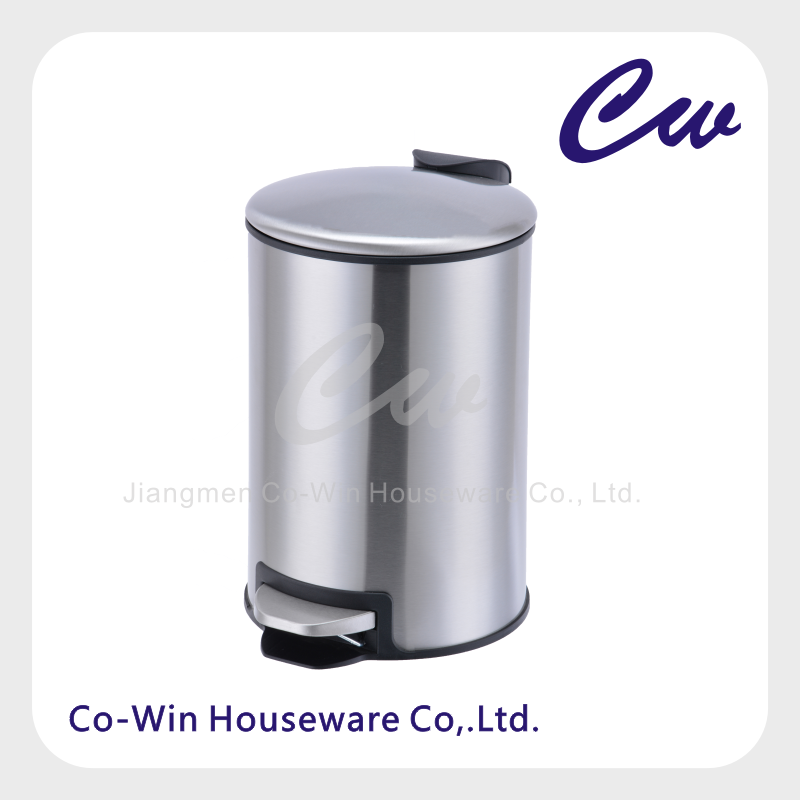 5Liter Stainless Steel Round Pedal bin with garbage holder;Step-On Trash can;Household Dust bin