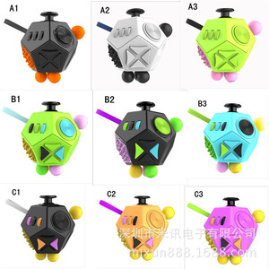 Portable 12 Sides Stress Magic Dice Fidget Anxiety Stress Attention Relief Puzzle Cube Gadgets 2 Types EDC Polyhedron Dices