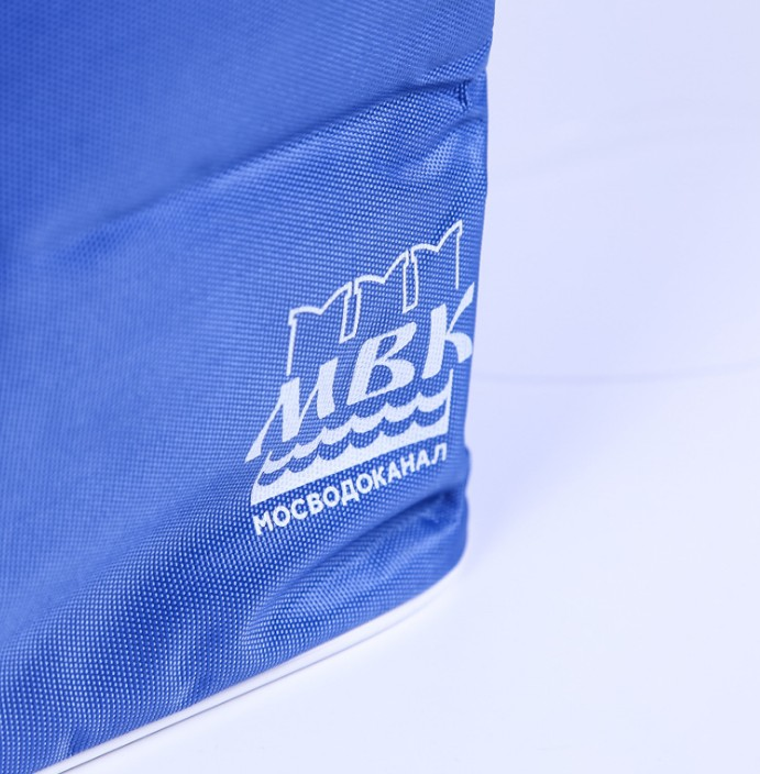 High Quality Deep Blue Polyester Cooler Bag Durable Insulated Lunch Thermal Tote Bag For Promotion