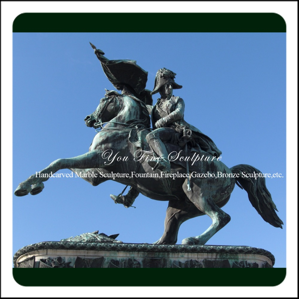 Outdoor Large Patina Bronze Napoleon Sculpture with Horse