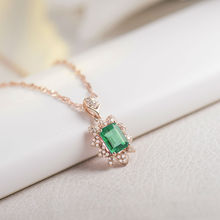 Royal Emerald Pendant Solid 18Kt Rose Gold,Real Diamond Emerald Pendant Necklace For Women 585 Real Gold SP0379